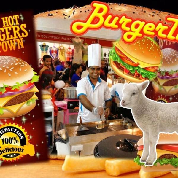 Live lamb burger stall