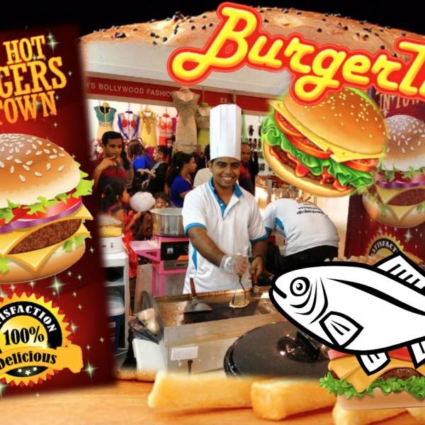 live fish burger stall